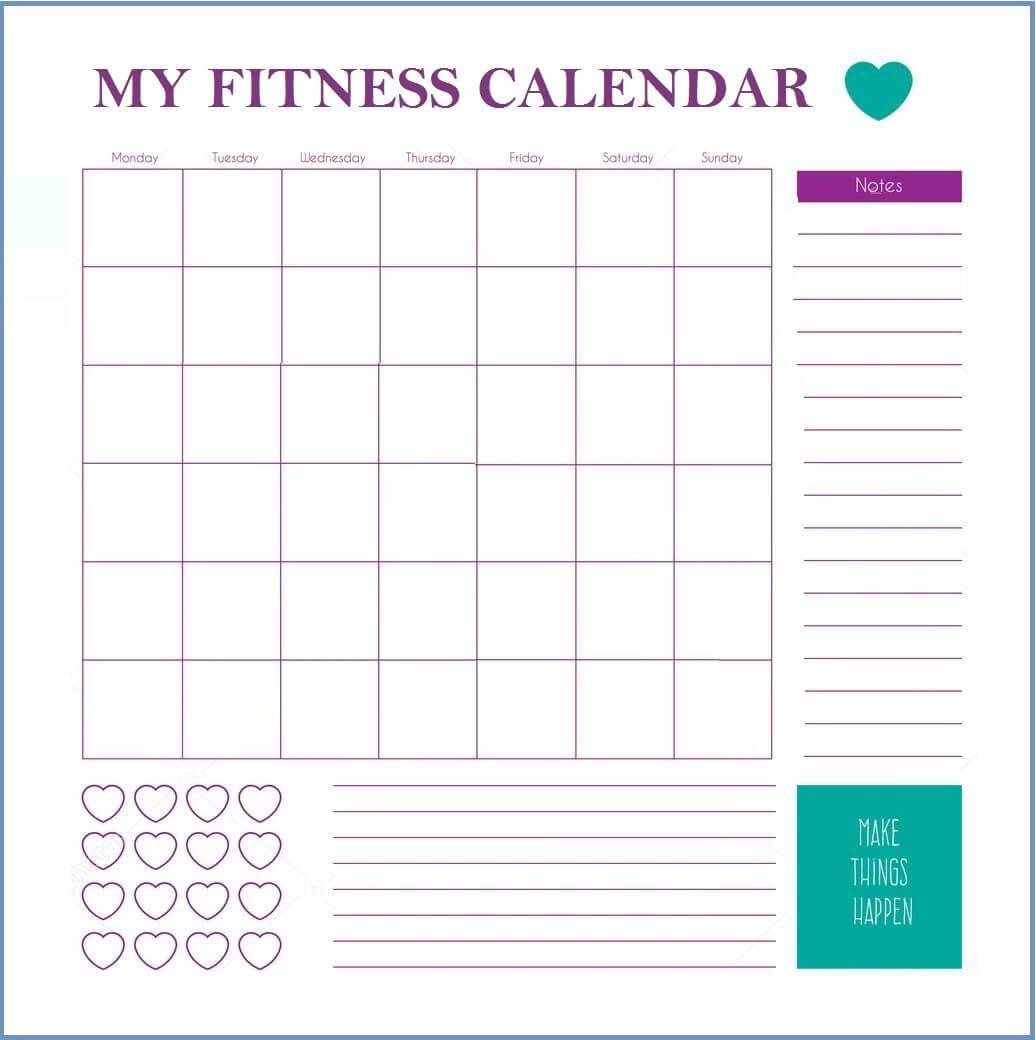 Fitness Calendar Template | Workout Calendar, Workout For Blank Workout Schedule Template