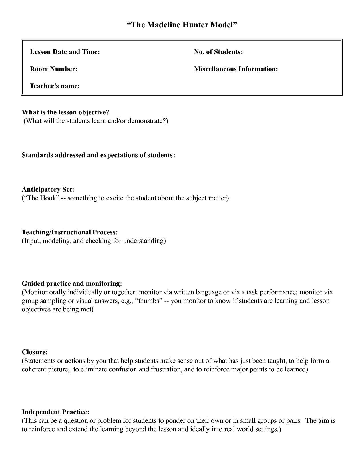 Five Common Mistakes In Writing Lesson.   Lesson Plan within Madeline Hunter Lesson Plan Template Blank