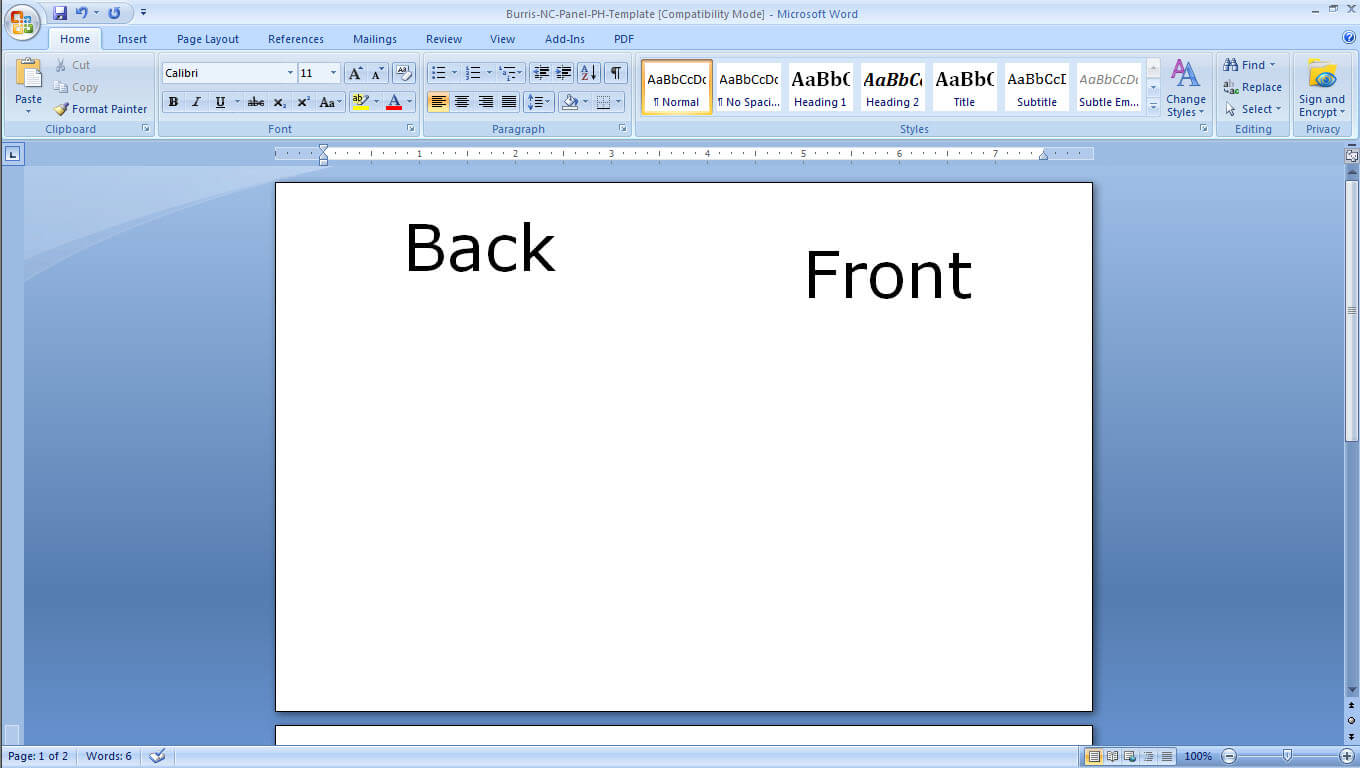 Flash Card Template Word   Template Business in Microsoft Word Place Card Template