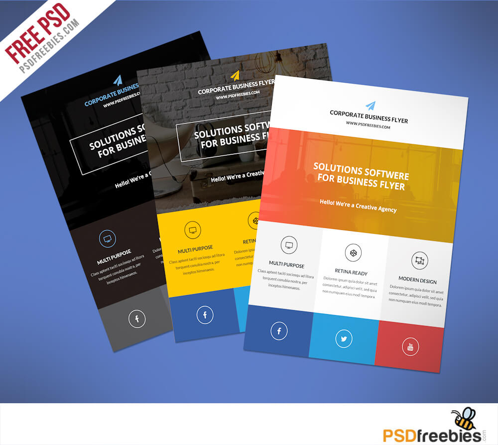Flat Clean Corporate Business Flyer Free Psd | Psdfreebies with regard to Commercial Cleaning Brochure Templates
