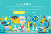 Flat Design Concept Of Science. Horizontal Banner With Scientist.. for Science Fair Banner Template