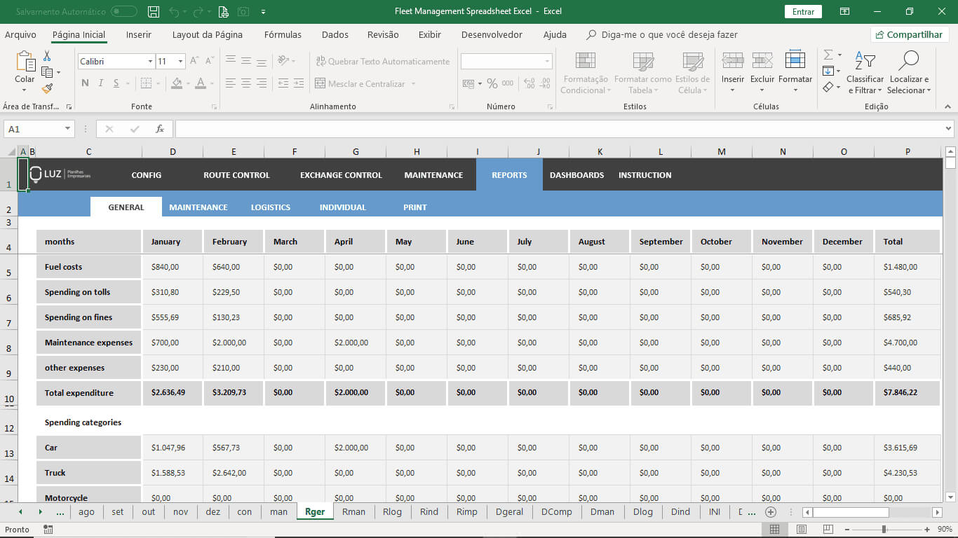 Fleet Management Spreadsheet Excel Pertaining To Fleet Management Report Template