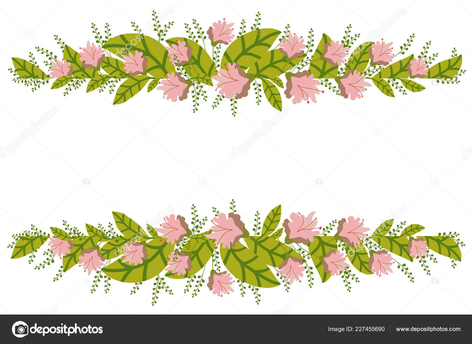 Floral Banner Isolated White Background Flower Composition With Save The Date Banner Template