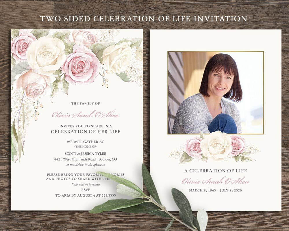 Floral Funeral Invitation Funeral Announcement Card In Memorial Card Template Word