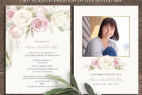 Floral Funeral Invitation Funeral Announcement Card intended for Memorial Cards For Funeral Template Free