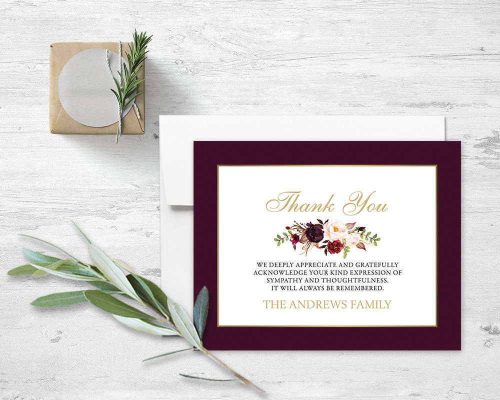 Floral Sympathy Thank You Card Memorial Service Printable Template Obituary  Service Printed Or Diy Cards Funeral Acknowledgement Digital intended for Sympathy Thank You Card Template