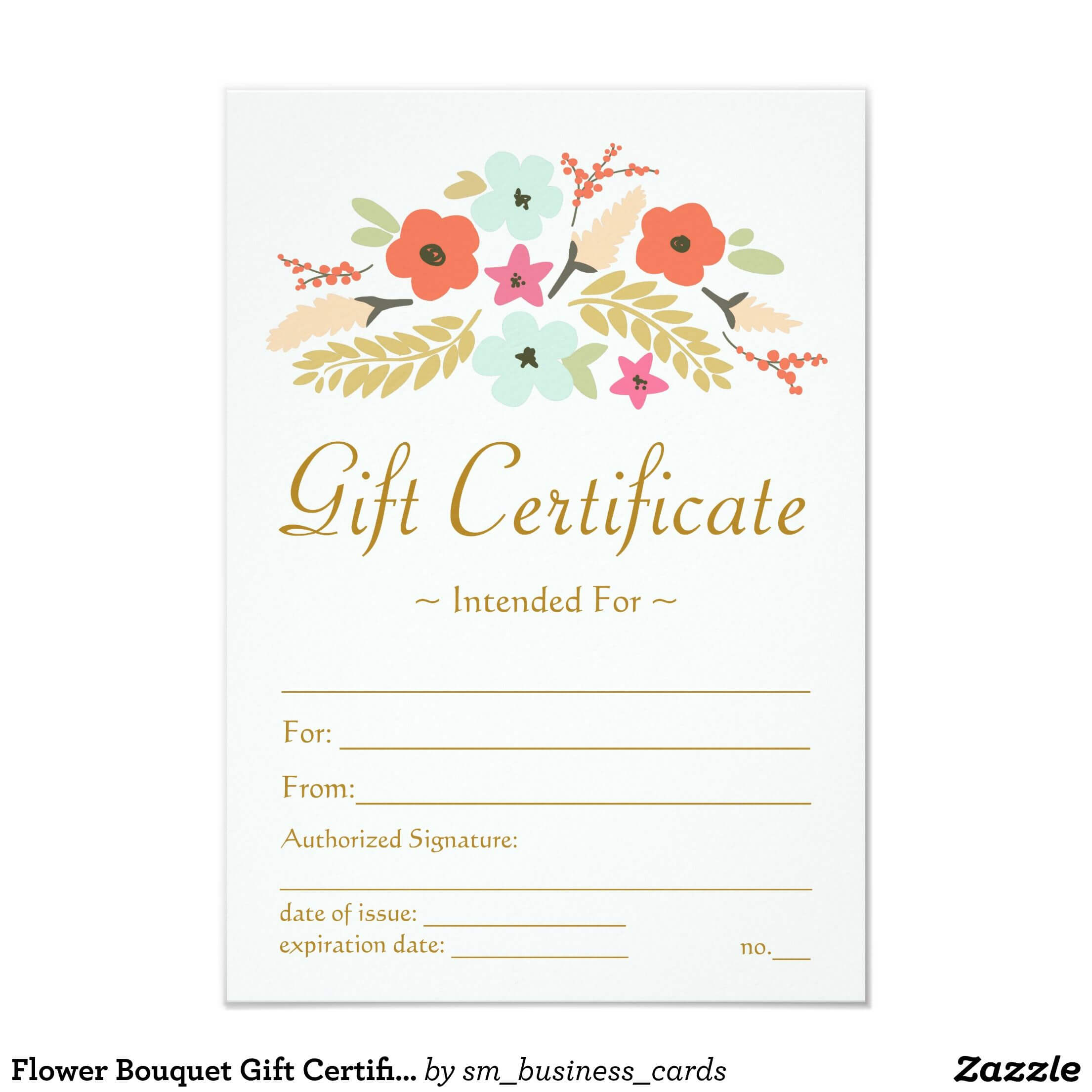 Flower Bouquet Gift Certificate | Zazzle | Buss | Gift pertaining to Massage Gift Certificate Template Free Printable
