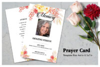 Flower Funeral Prayer Card Template with Prayer Card Template For Word