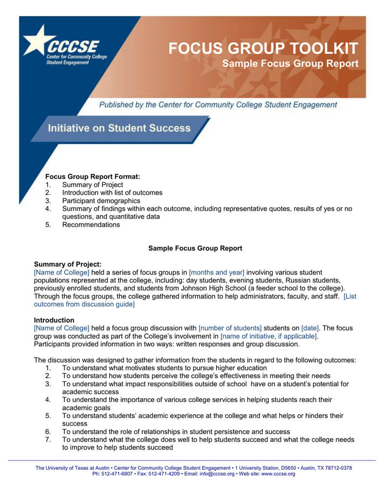 Focus Group Toolkit Sample Focus Group Report For Focus Group Discussion Report Template