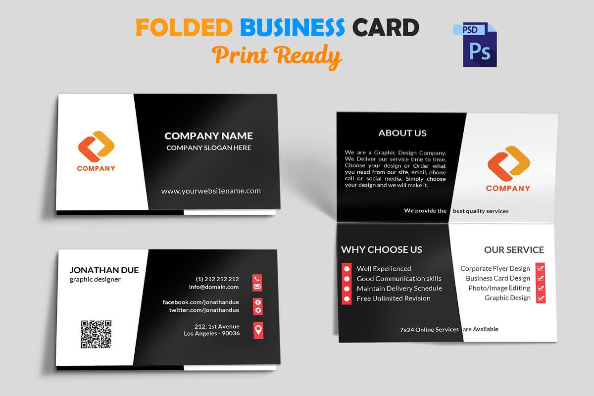 Foldable Business Card Template Folded Indesign Free Tri Intended For Fold Over Business Card Template