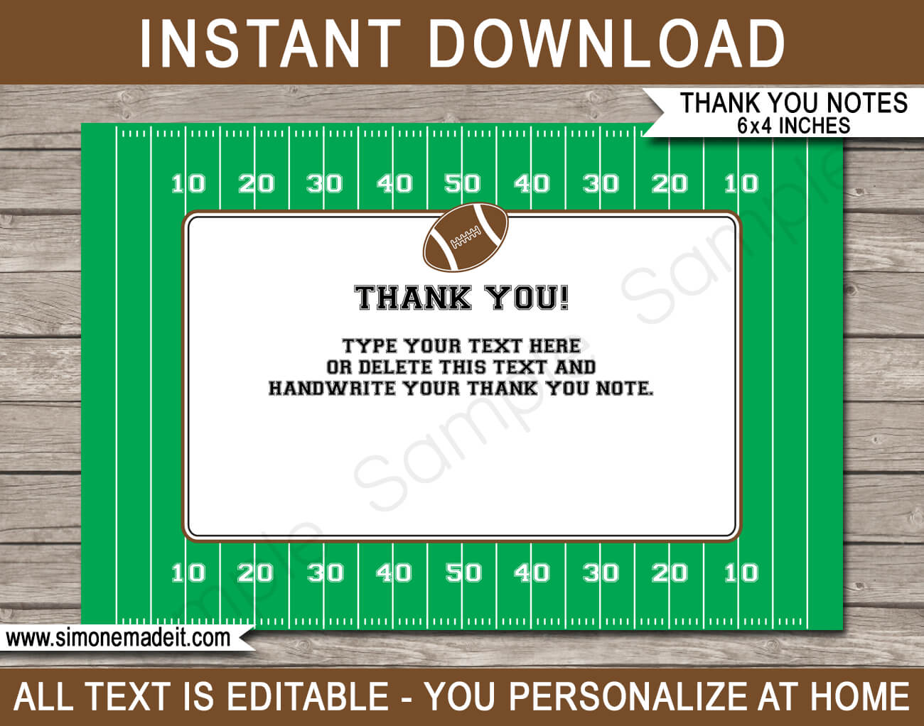 Football Party Thank You Cards Template for Soccer Thank You Card Template