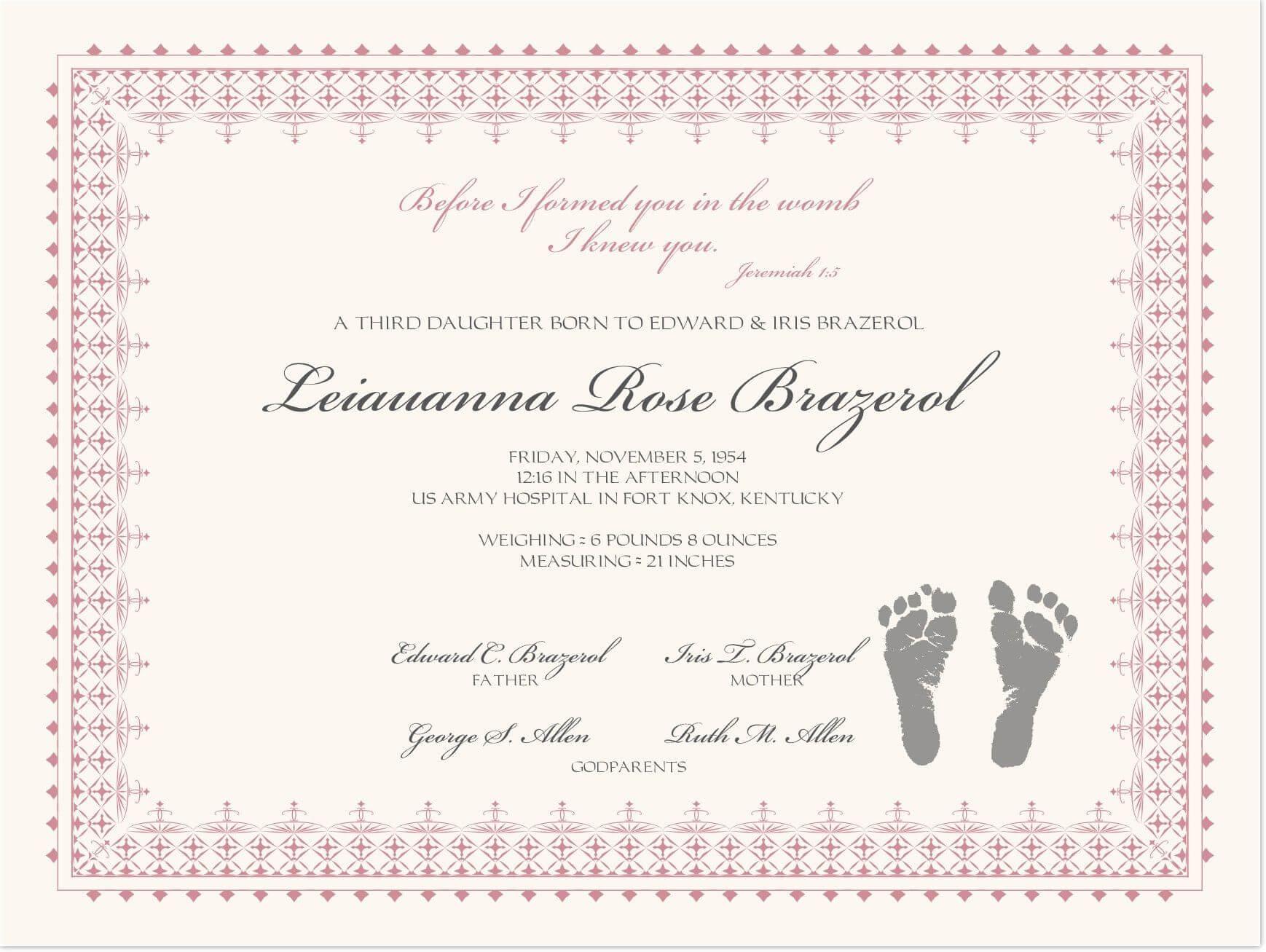 Footprints Baby Certificates | Baby Dedication Certificate for Baby Death Certificate Template