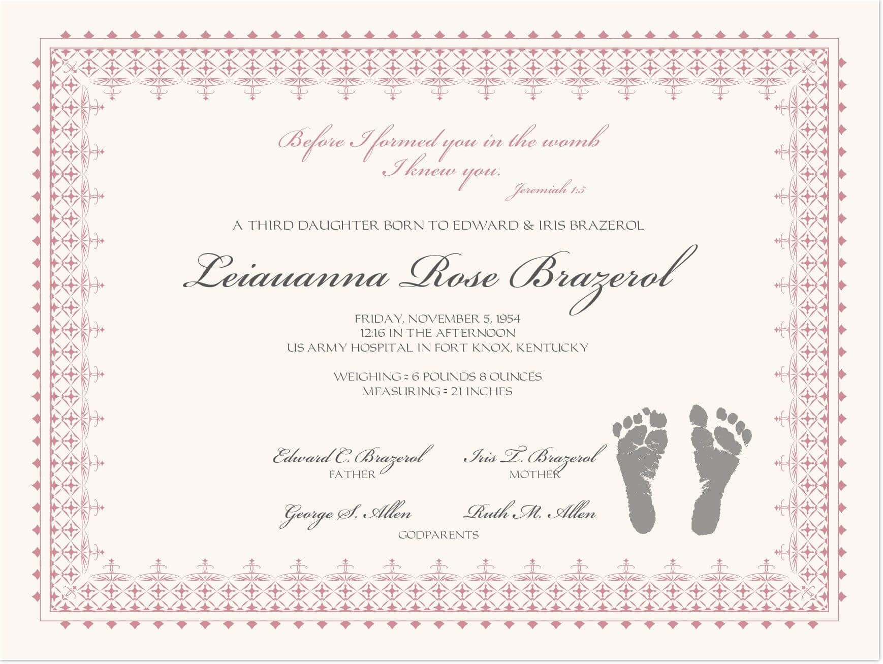 Footprints Baby Certificates | Birth Certificate Template For Baby Dedication Certificate Template