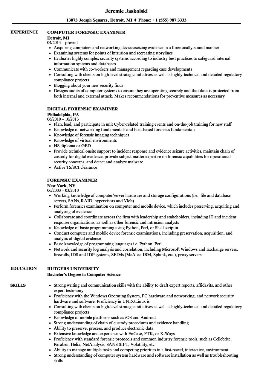 Forensic Examiner Resume Samples | Velvet Jobs With Regard To Forensic Report Template