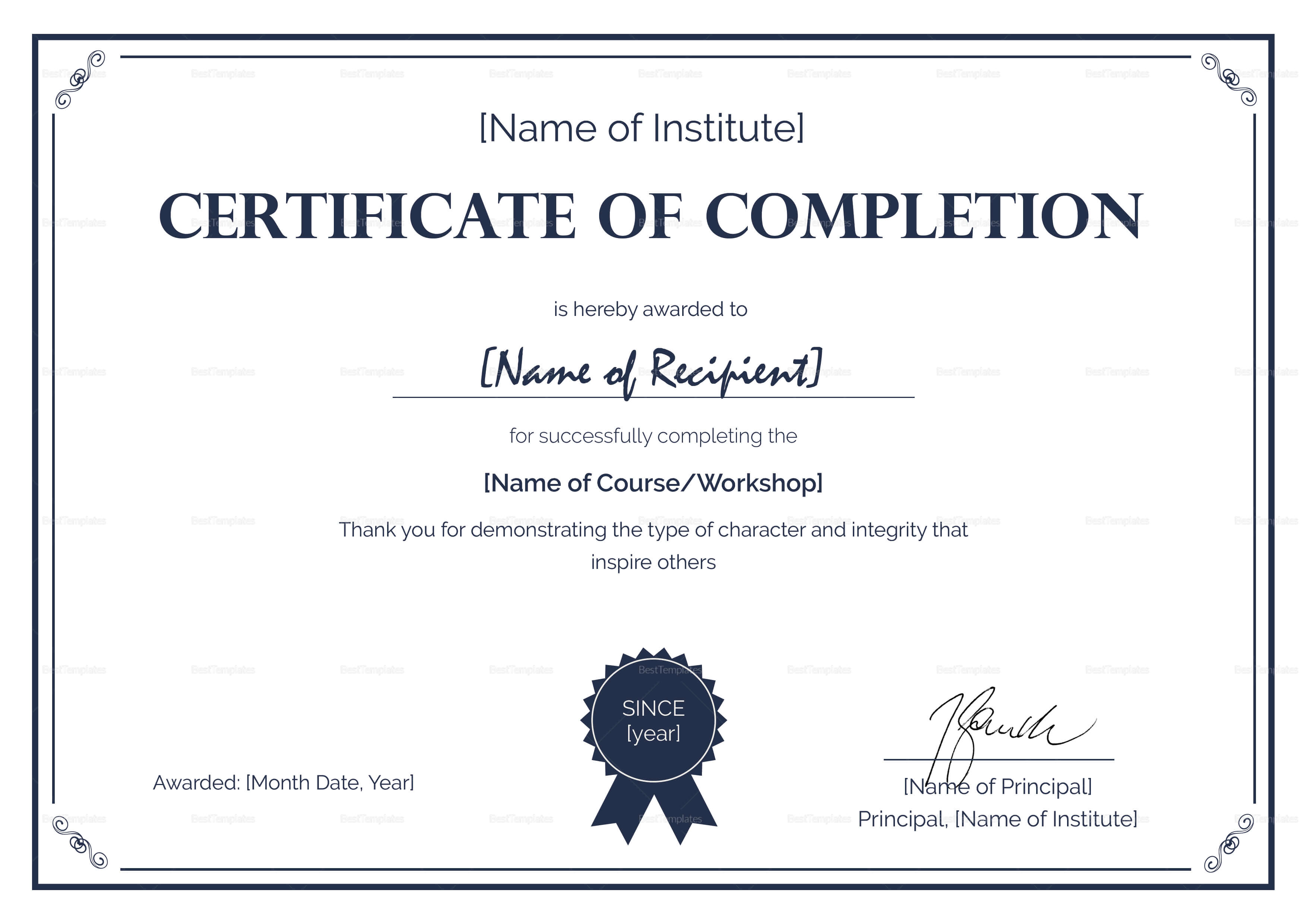 Formal Completion Certificate Template Intended For Certification Of Completion Template