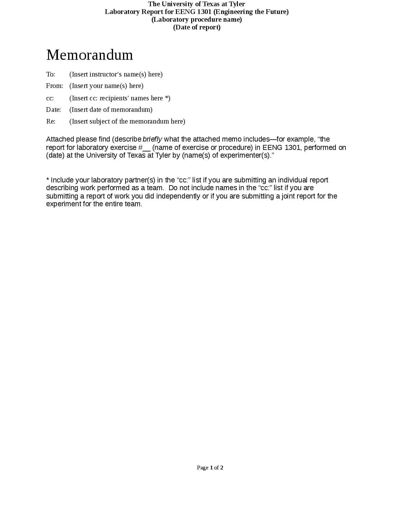 Format For Basic Memorandum Laboratory Reports - Docsity pertaining to Engineering Lab Report Template