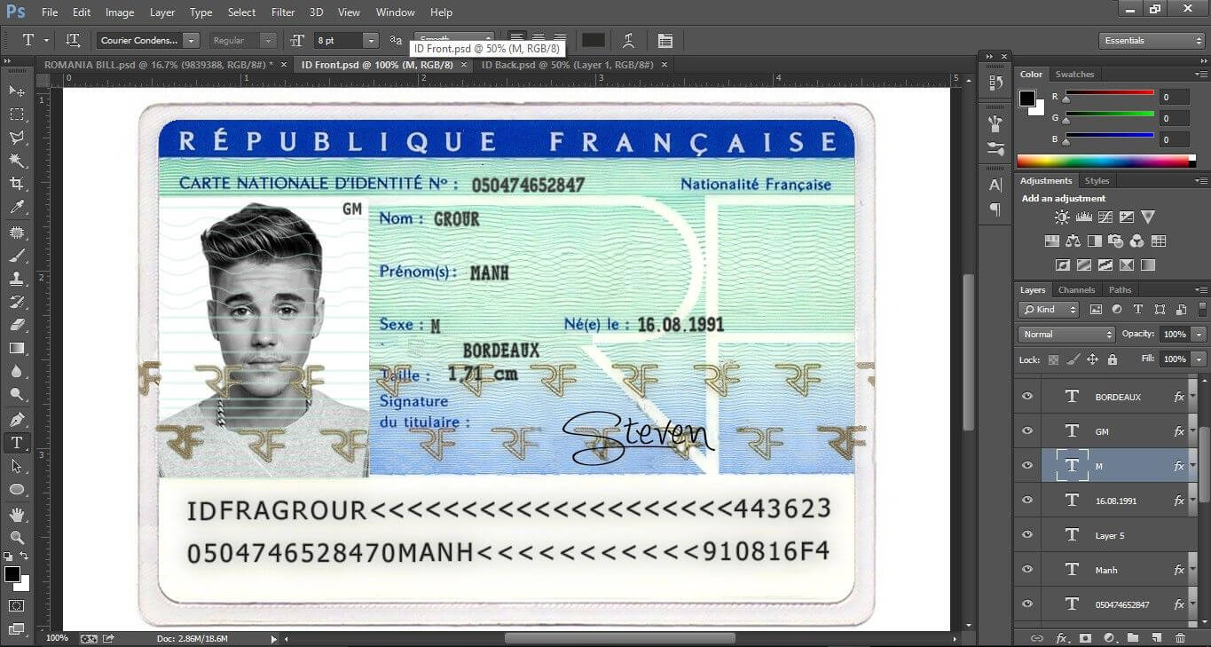 France Id Card Psd Template (Photoshop) This Is France Id Inside French Id Card Template