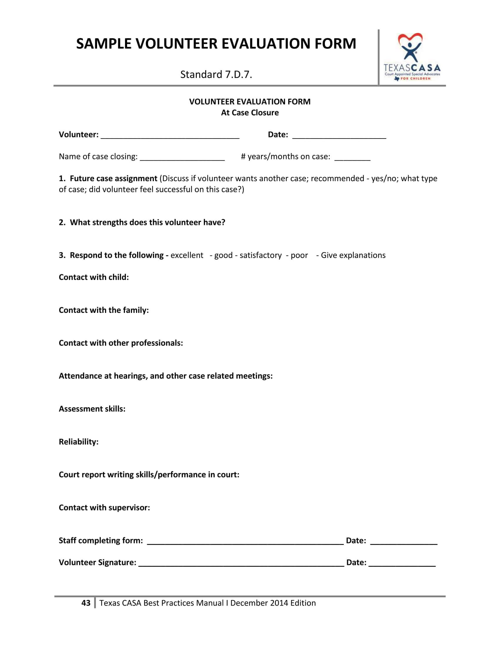 Free 14+ Volunteer Evaluation Forms | Pdf with regard to Blank Evaluation Form Template