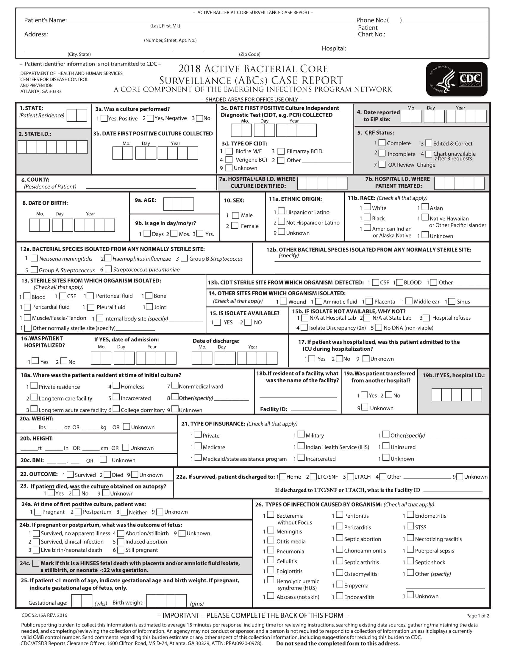 Free 15+ Case Report Forms In Pdf | Doc within Case Report Form Template