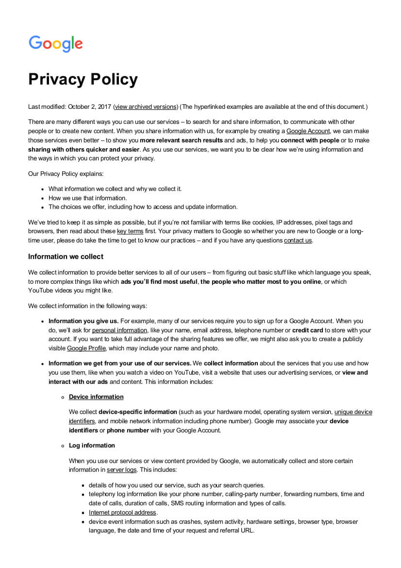 Free 18+ Privacy Policy Examples In Pdf | Google Docs within Credit Card Privacy Policy Template