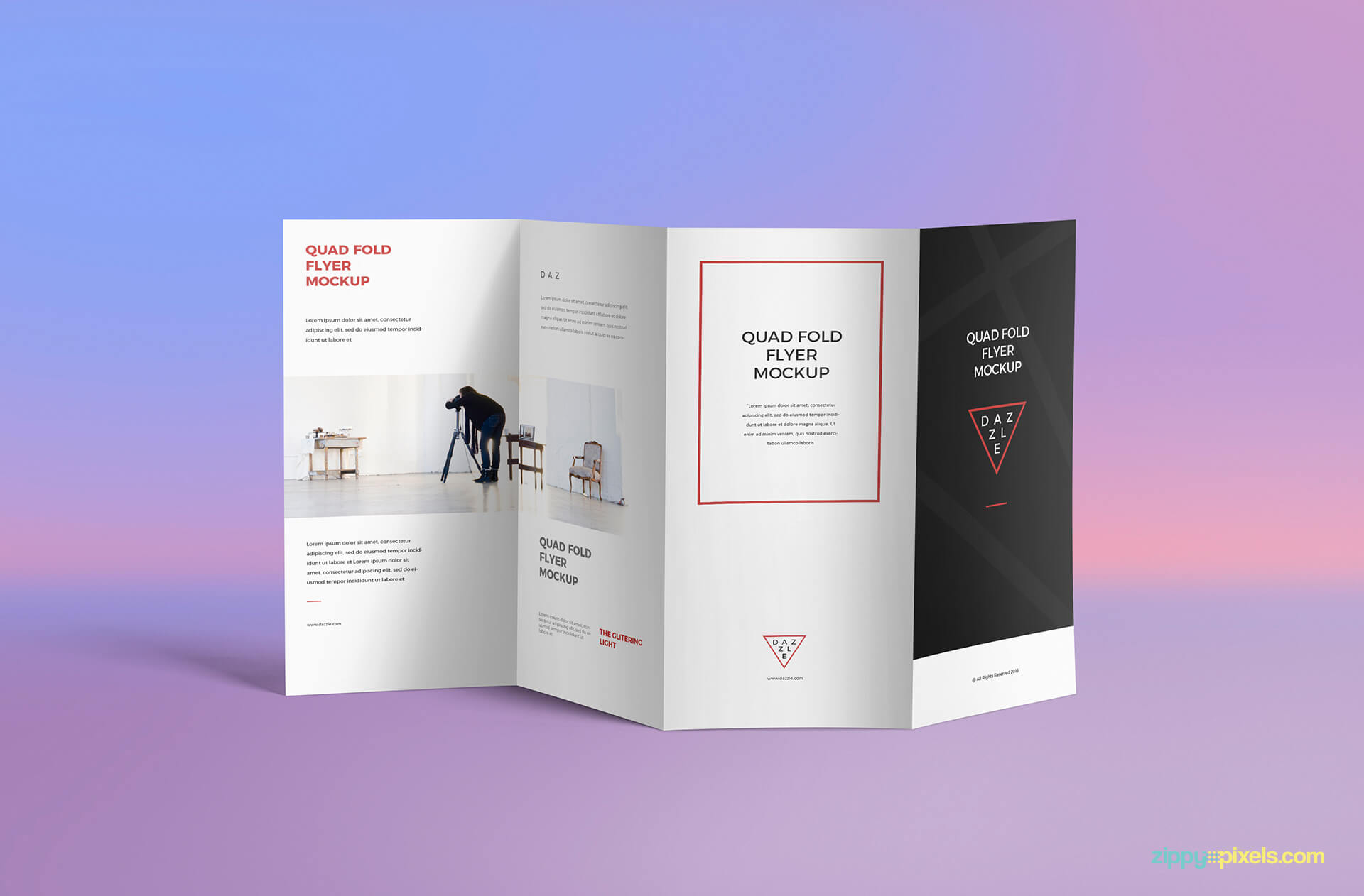 Free 4 Fold Brochure Mockup   Zippypixels throughout 4 Fold Brochure Template
