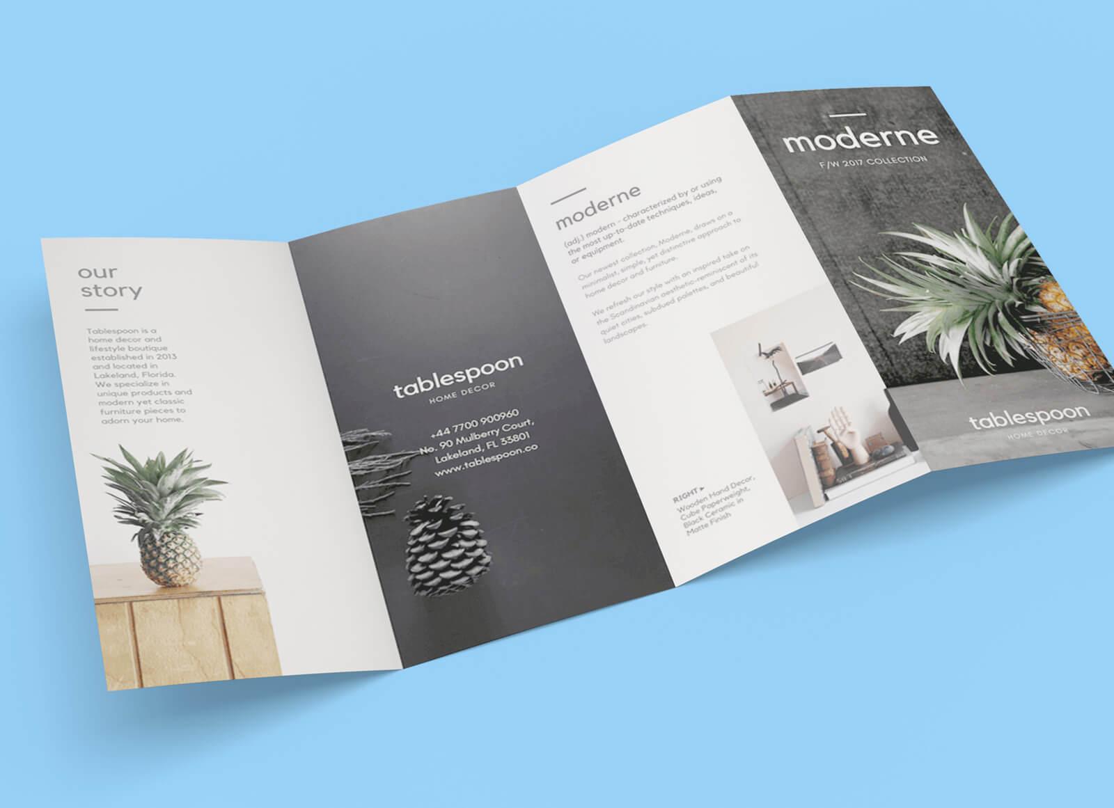 Free 4-Panel Quad-Fold Brochure Mockup Psd - Good Mockups intended for 4 Panel Brochure Template