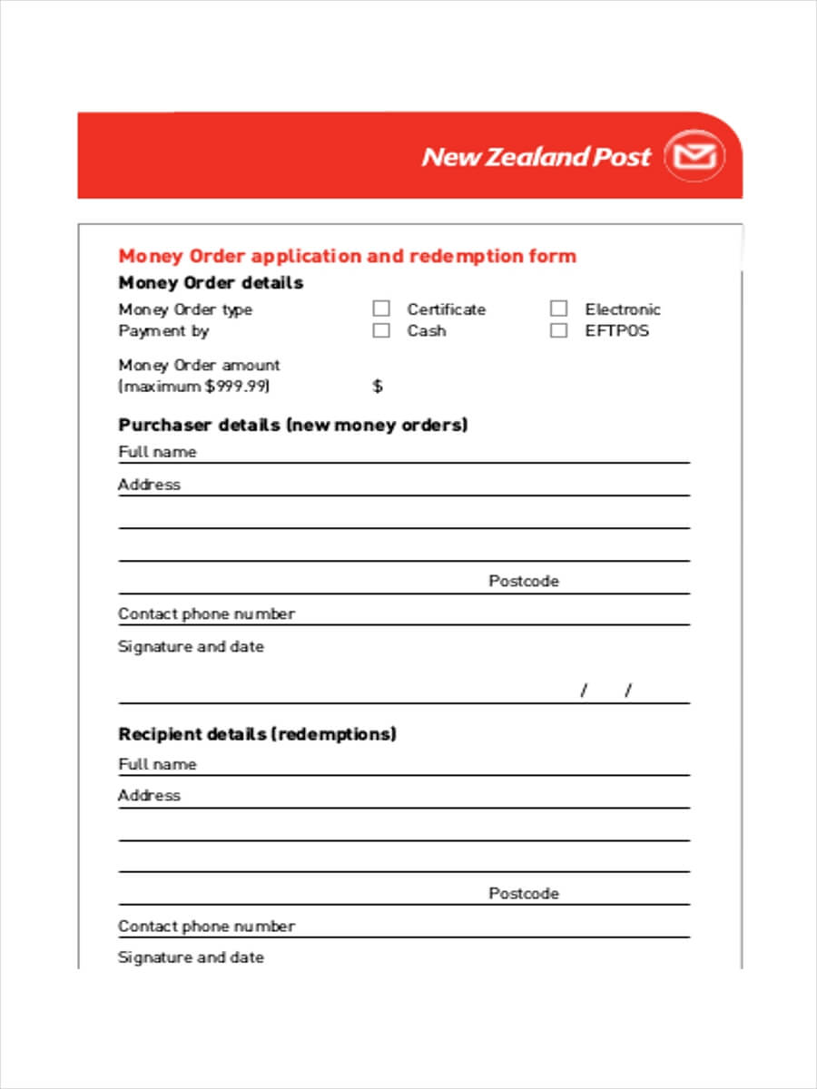 Free 5+ Money Order Examples & Samples In Pdf   Examples pertaining to Blank Money Order Template
