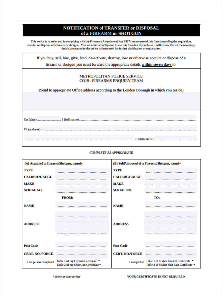 Free 5+ Notice Of Disposal Forms In Word | Pdf Throughout Certificate Of Disposal Template
