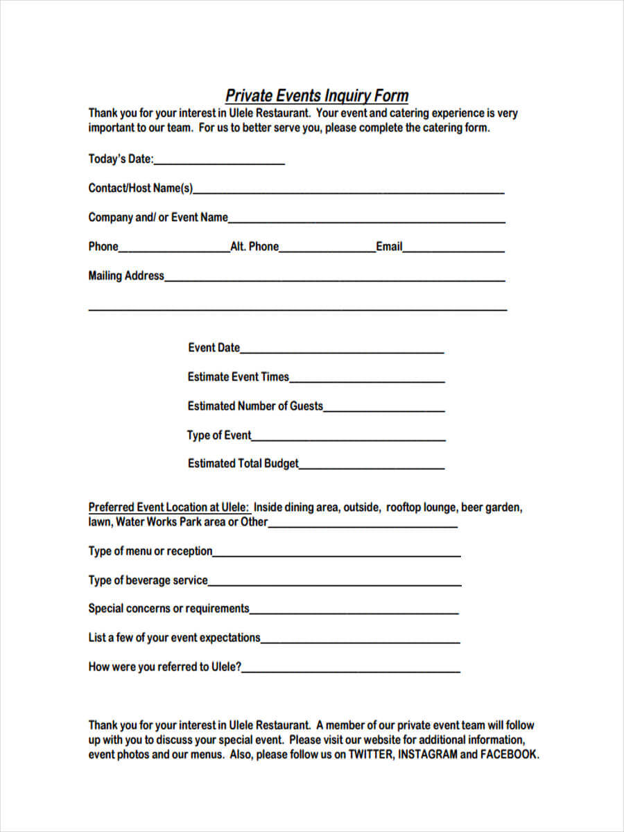 Free 6+ Event Inquiry Forms In Samples, Examples, Formats With Regard To Enquiry Form Template Word