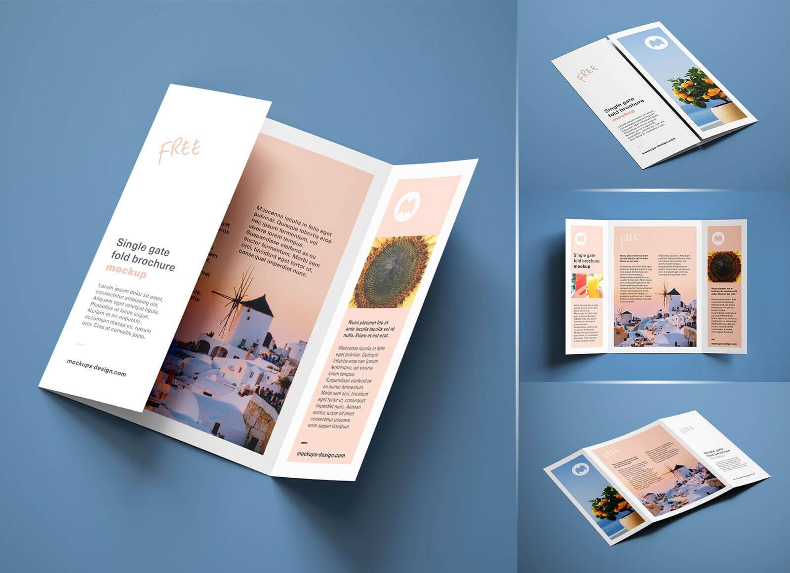 Free A4 Single Gate Fold Brochure Mockup Psd Set | Graphic Inside Single Page Brochure Templates Psd