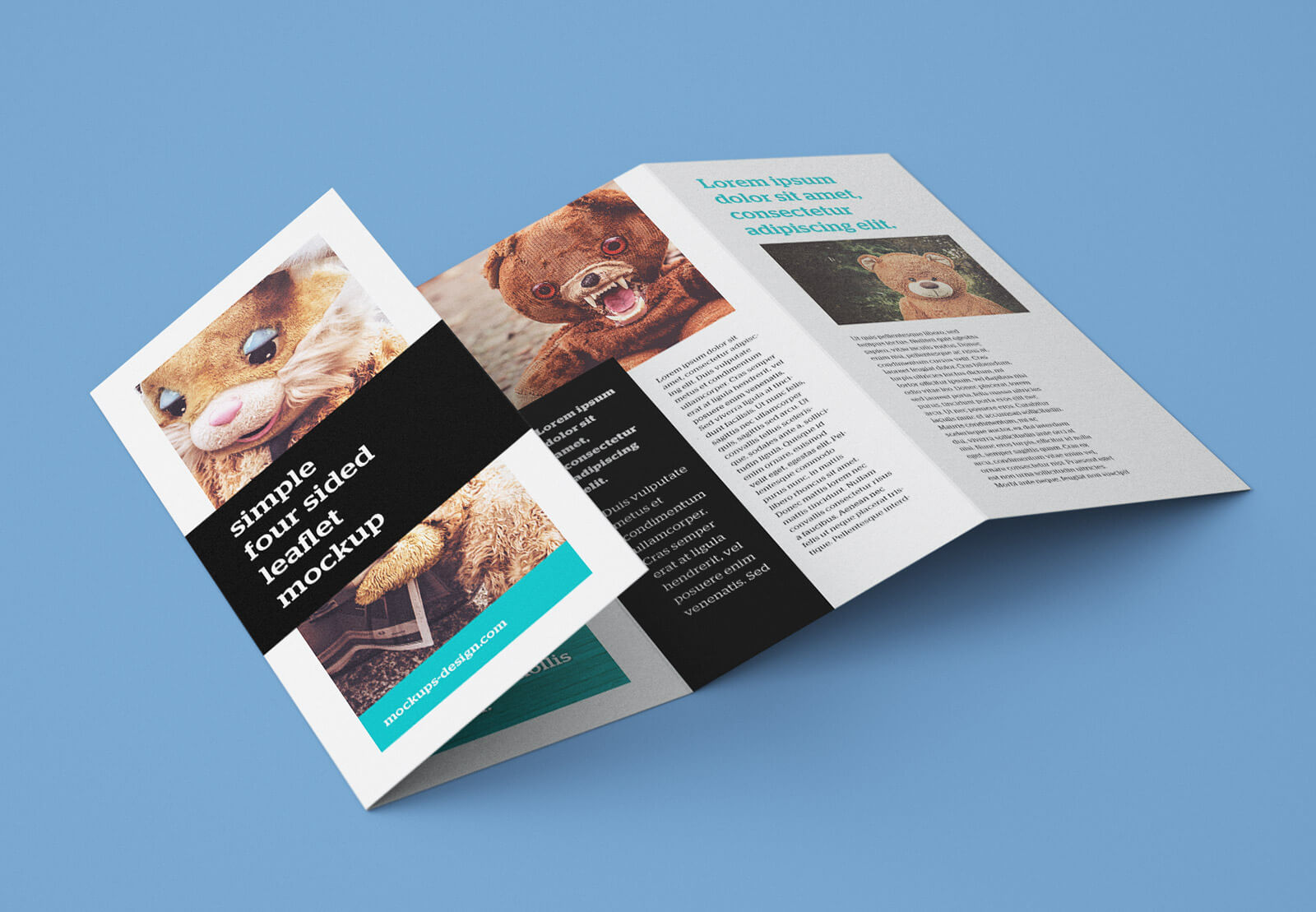 Free Accordion 4-Fold Brochure / Leaflet Mockup Psd within Quad Fold Brochure Template