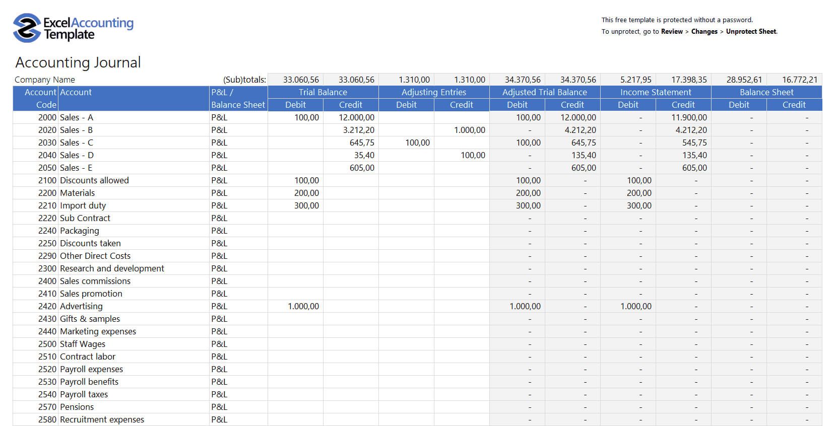 Free Accounting Templates In Excel - Download For Your Business pertaining to Financial Reporting Templates In Excel