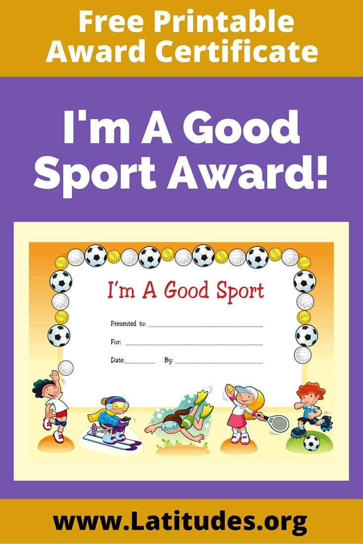 Free Award Certificate - I'm A Good Sport (Primary In Sports Day Certificate Templates Free