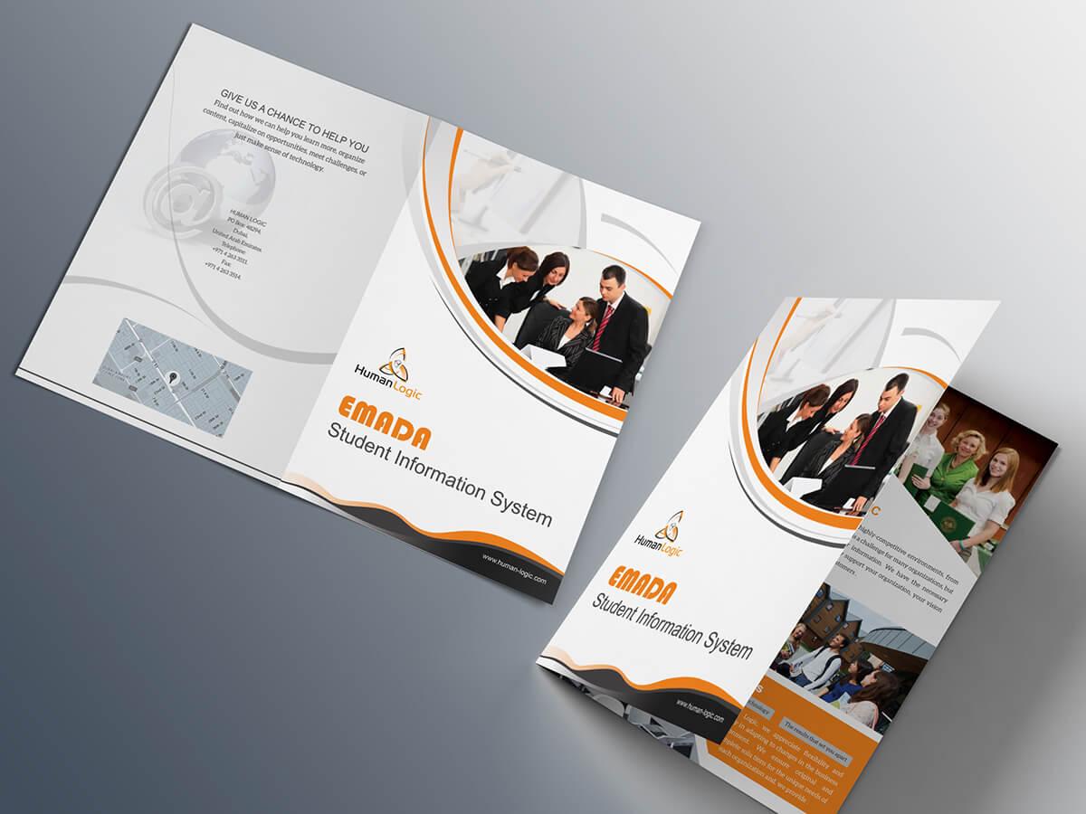 Free Bi Fold Brochure Psd On Behance Inside Two Fold Brochure Template Psd