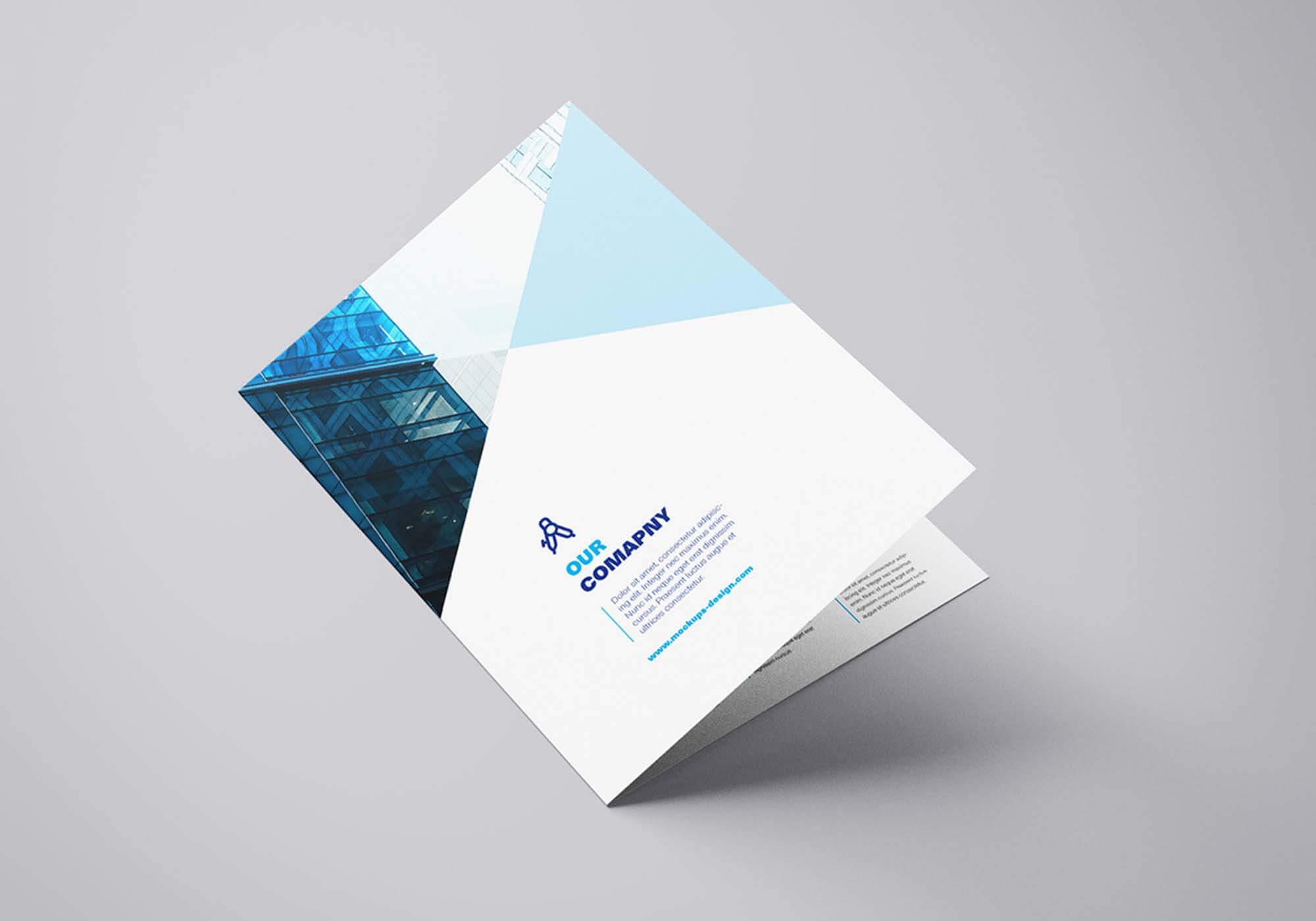 Free Bi Fold Mockup Template (Psd) In Two Fold Brochure Template Psd