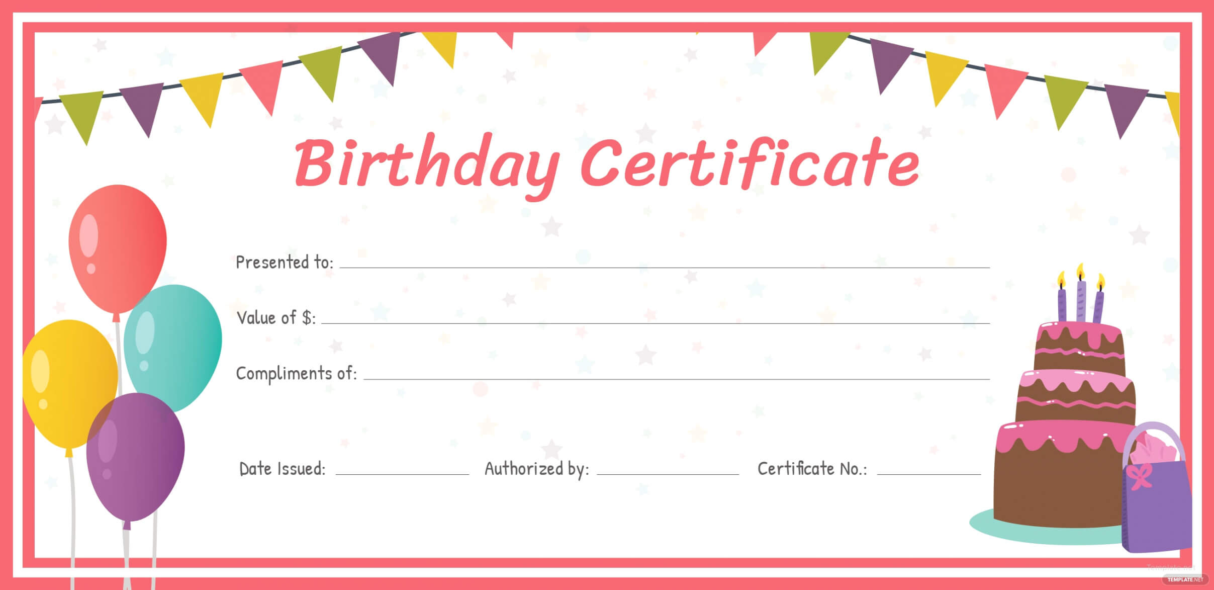 Free Birthday Gift Certificate Template In Adobe (Voucher throughout Fillable Gift Certificate Template Free