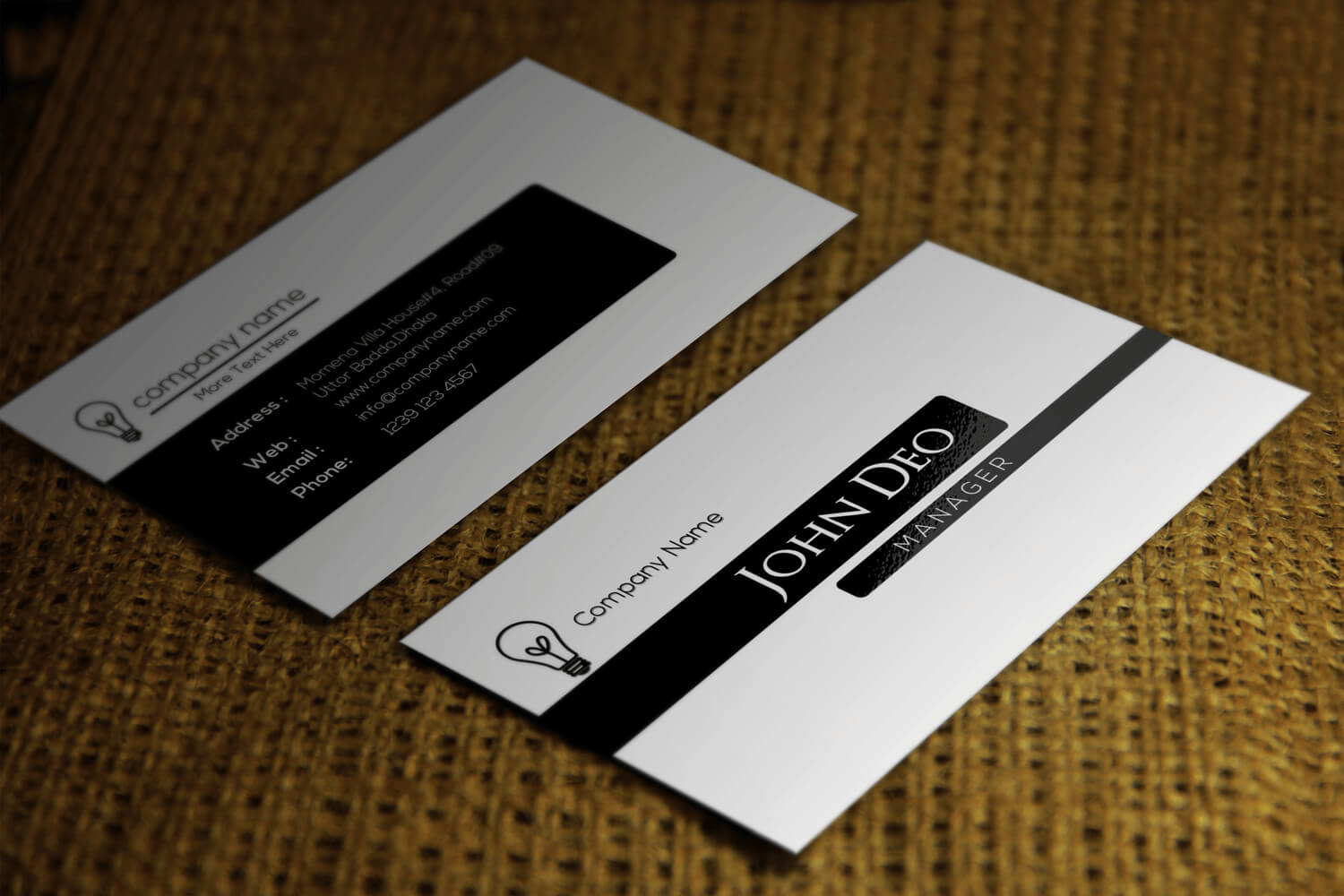 Free Black And White Business Card Template Regarding Black And White Business Cards Templates Free