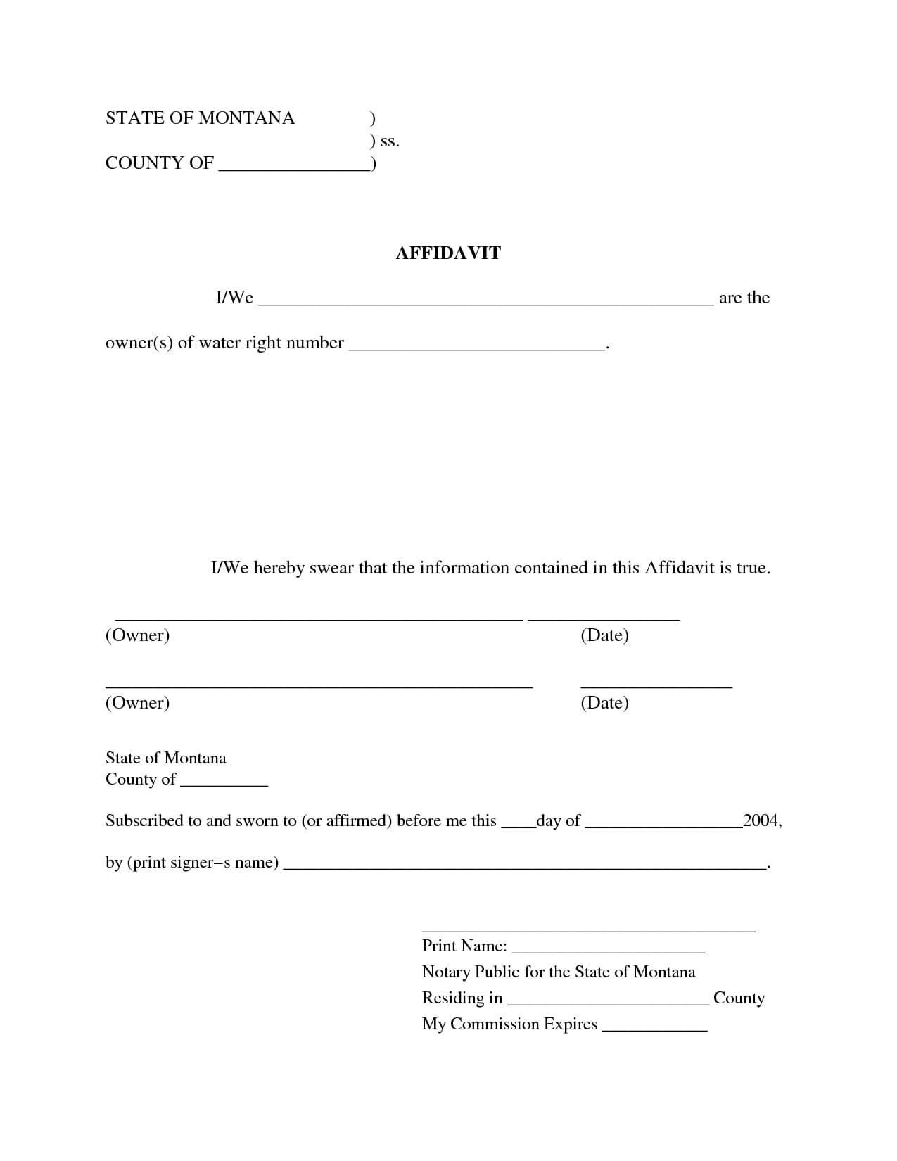 Free Blank Affidavit Form | Blank Sworn Affidavit Forms intended for Blank Legal Document Template