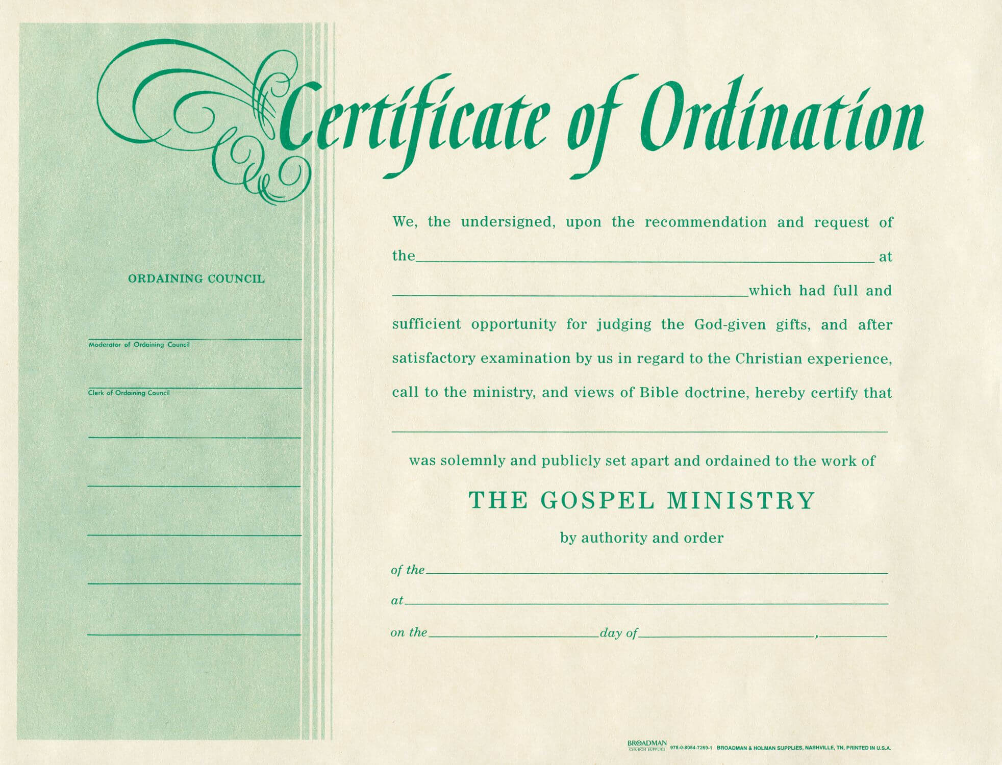 Free Blank Certificate Of Ordination | Ordination For With Regard To Certificate Of Ordination Template