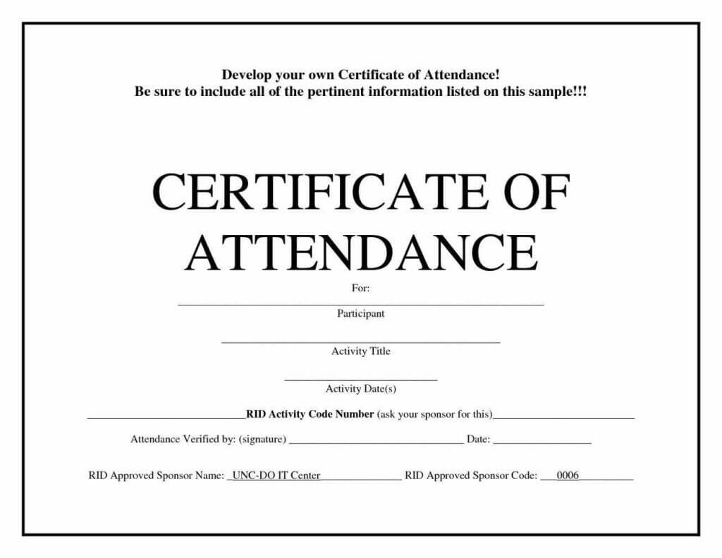 Free Blank Certificate Templates | Blank Certificate With Regard To Attendance Certificate Template Word