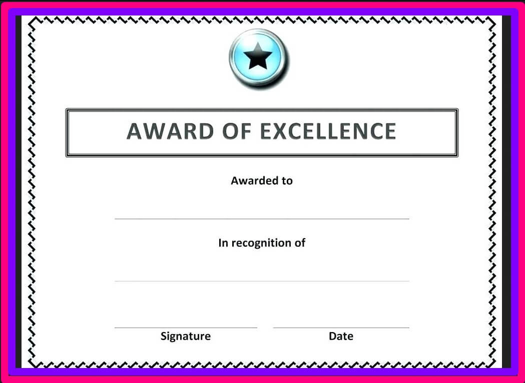 Free Blank Certificate Templates For Word   Business Letters inside Award Of Excellence Certificate Template