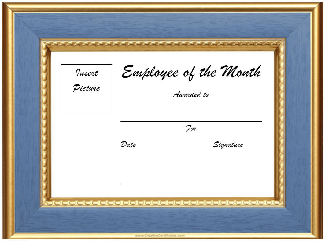 Free Blank Employee Of The Month Certificate #1956 inside Manager Of The Month Certificate Template