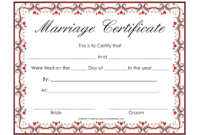 Free Blank Marriage Certificates | Printable Marriage inside Blank Marriage Certificate Template