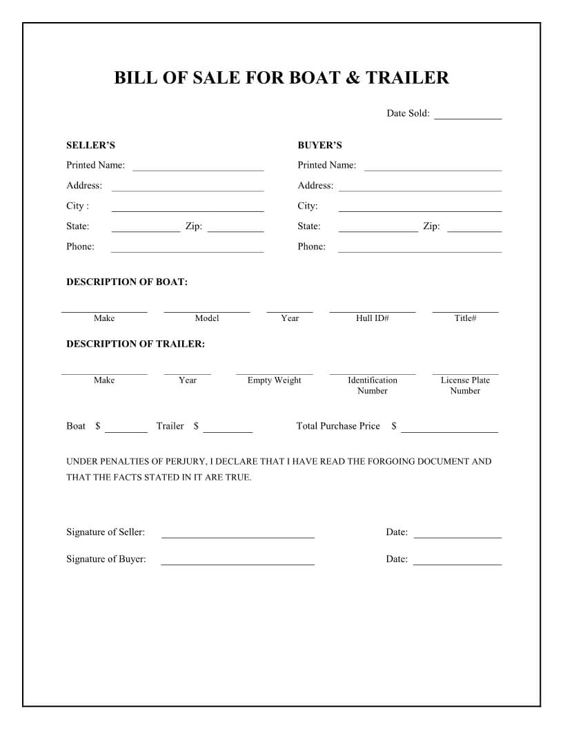 Free Boat & Trailer Bill Of Sale Form - Download Pdf | Word regarding Credit Card Templates For Sale
