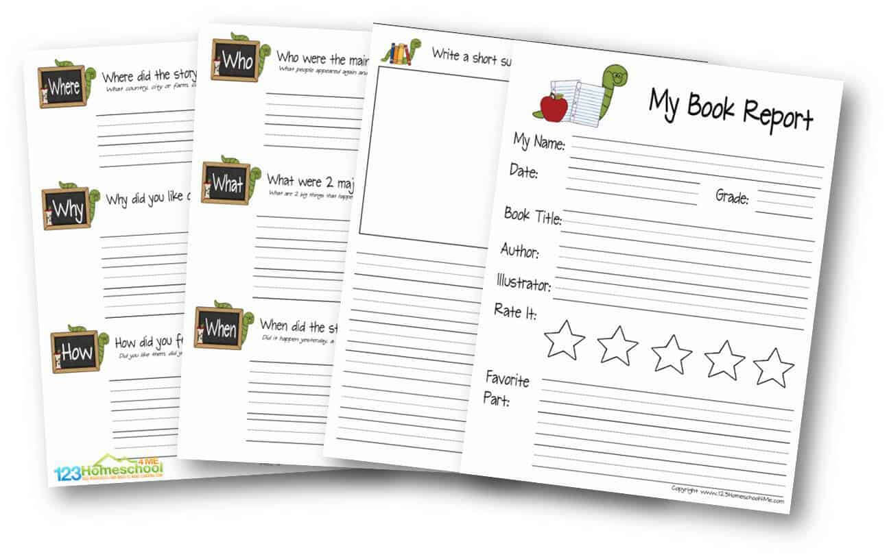 Free Book Report Template | 123 Homeschool 4 Me with Book Report Template Grade 1