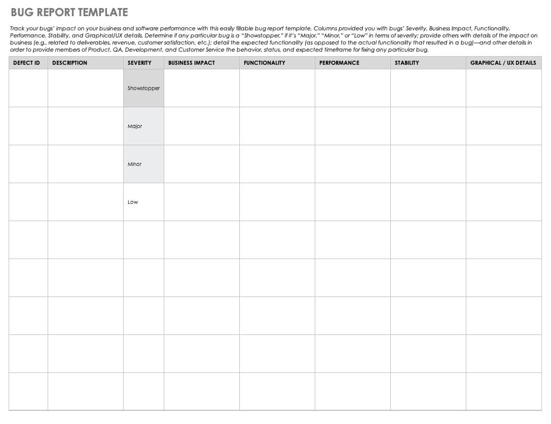 Free Bug Report Templates And Forms | Smartsheet within Bug Report Template Xls