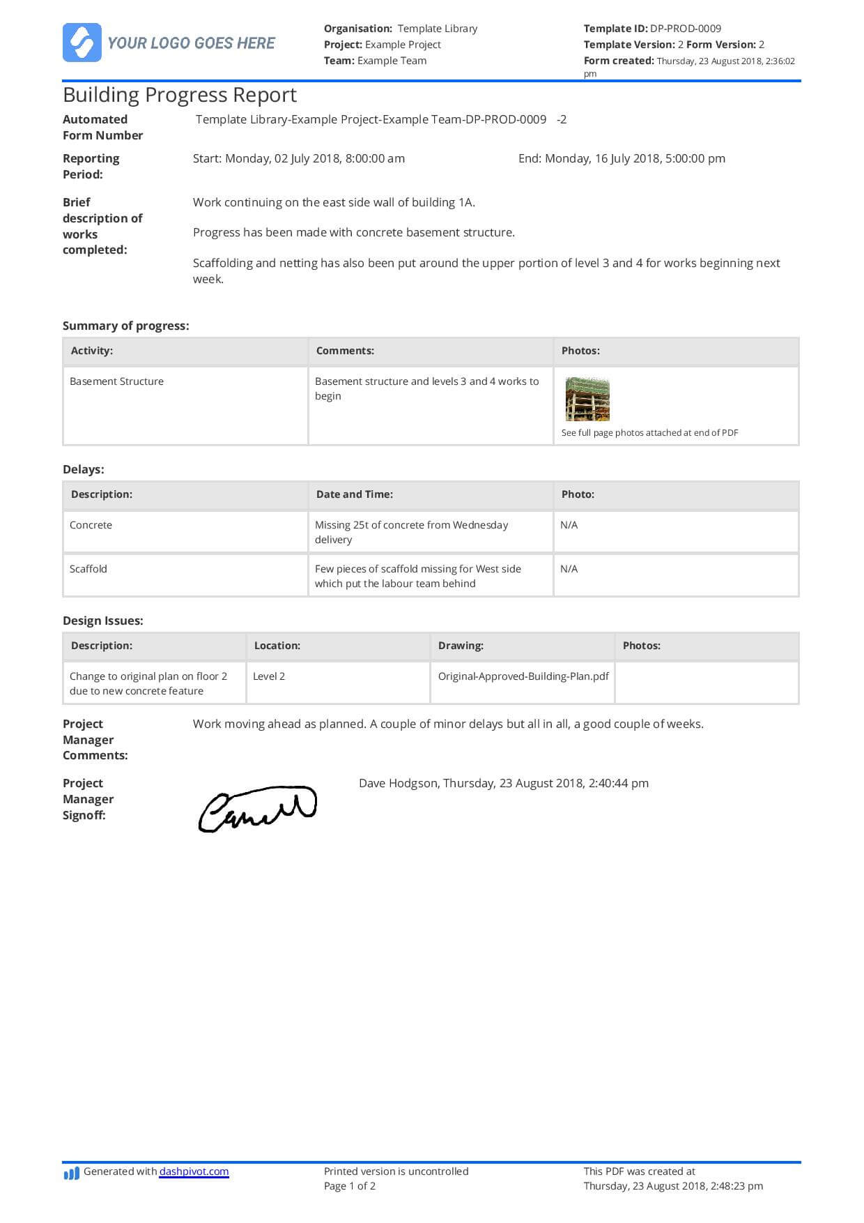 Free Building Construction Progress Report Sample (Customisable) intended for Building Defect Report Template