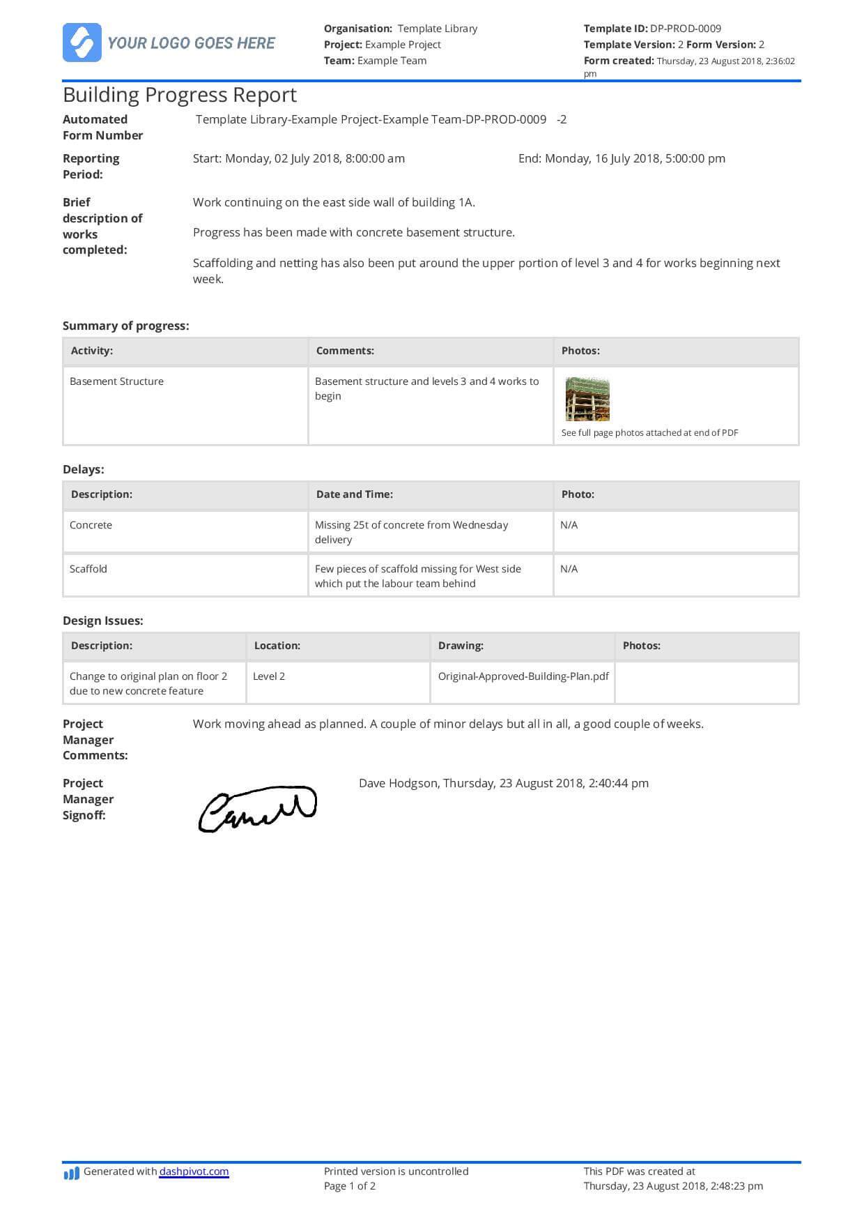 Free Building Construction Progress Report Sample (Customisable) Pertaining To It Progress Report Template