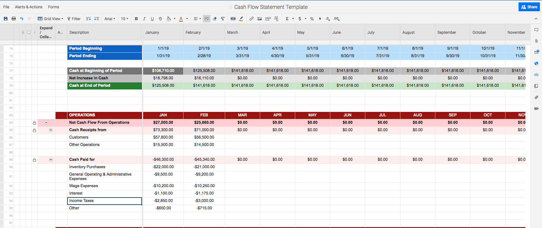 Free Cash Flow Statement Templates | Smartsheet Intended For Cash Position Report Template