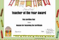Free Certificate Of Appreciation For Teachers | Customize Regarding Star Of The Week Certificate Template